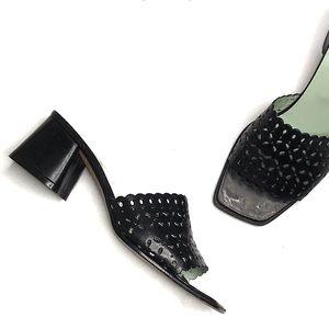 Charles Jourdan Black Eyelet Cut Leather Slides